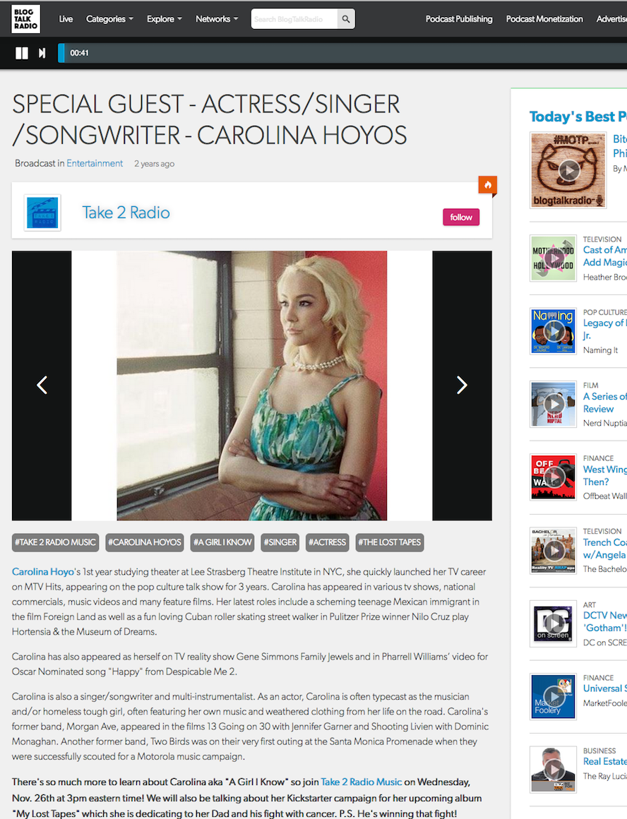 Singer Songwriter Actress A Girl I Know | Carolina Hoyos on Take 2 Radio Music