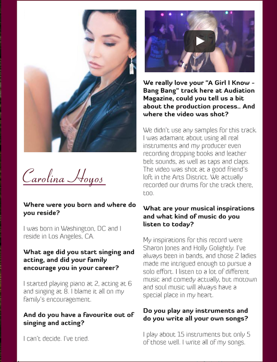 Singer Songwriter Actress A Girl I Know | Carolina Hoyos in Audiation Magazine