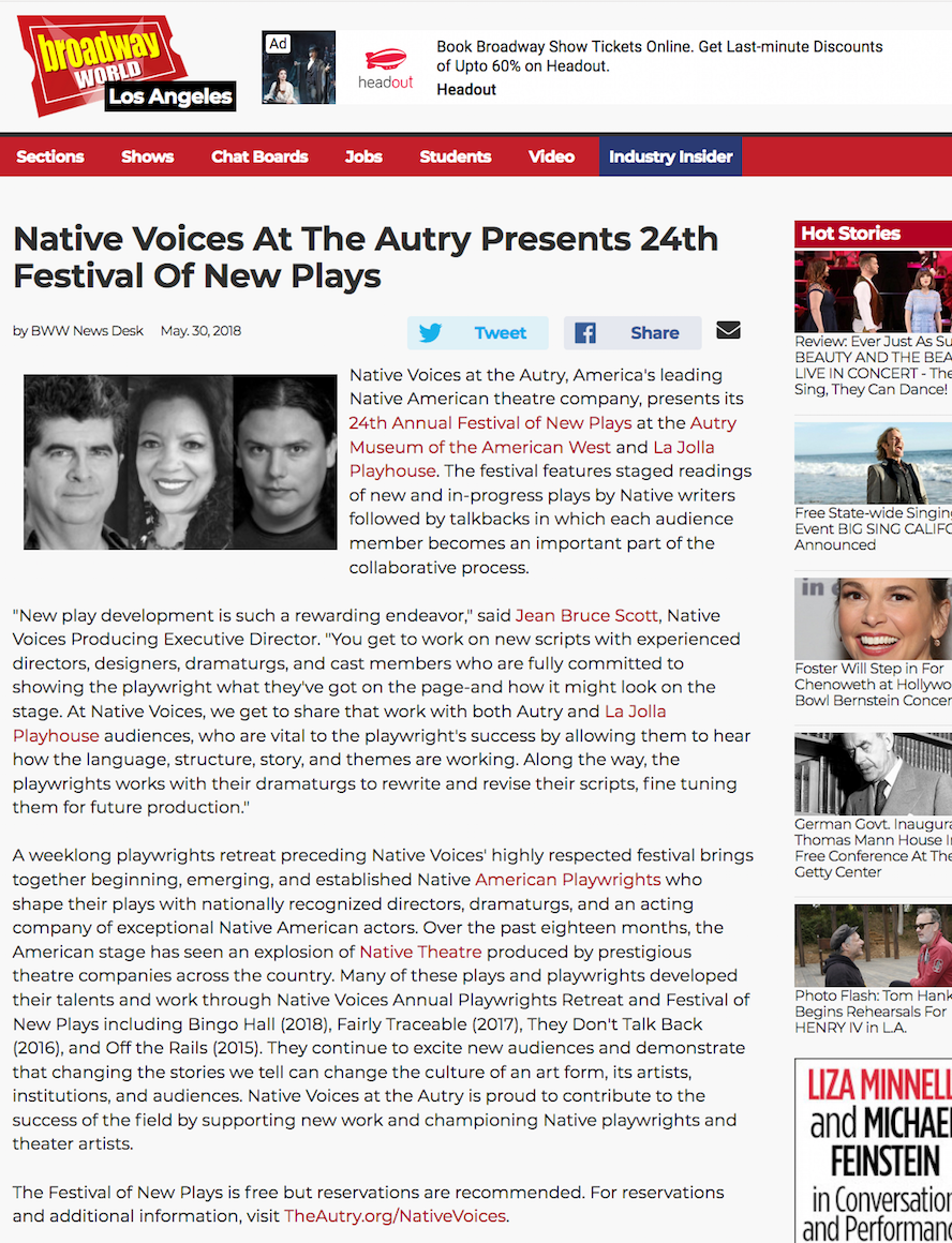 Singer Songwriter Actress A Girl I Know | Carolina Hoyos and Native Voices on Broadway World LA