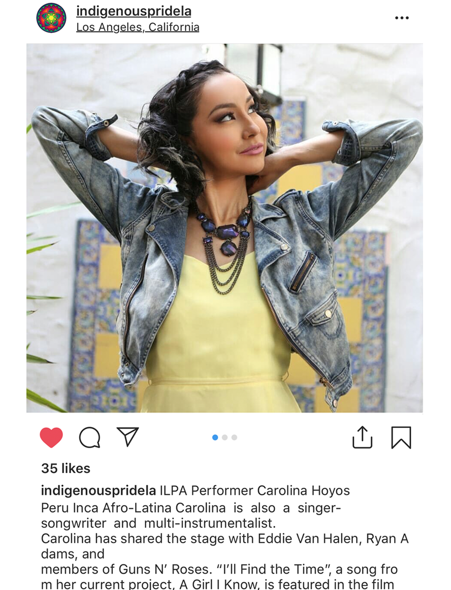 Singer Songwriter Actress A Girl I Know | Carolina Hoyos at Indigenous Pride LA 2018