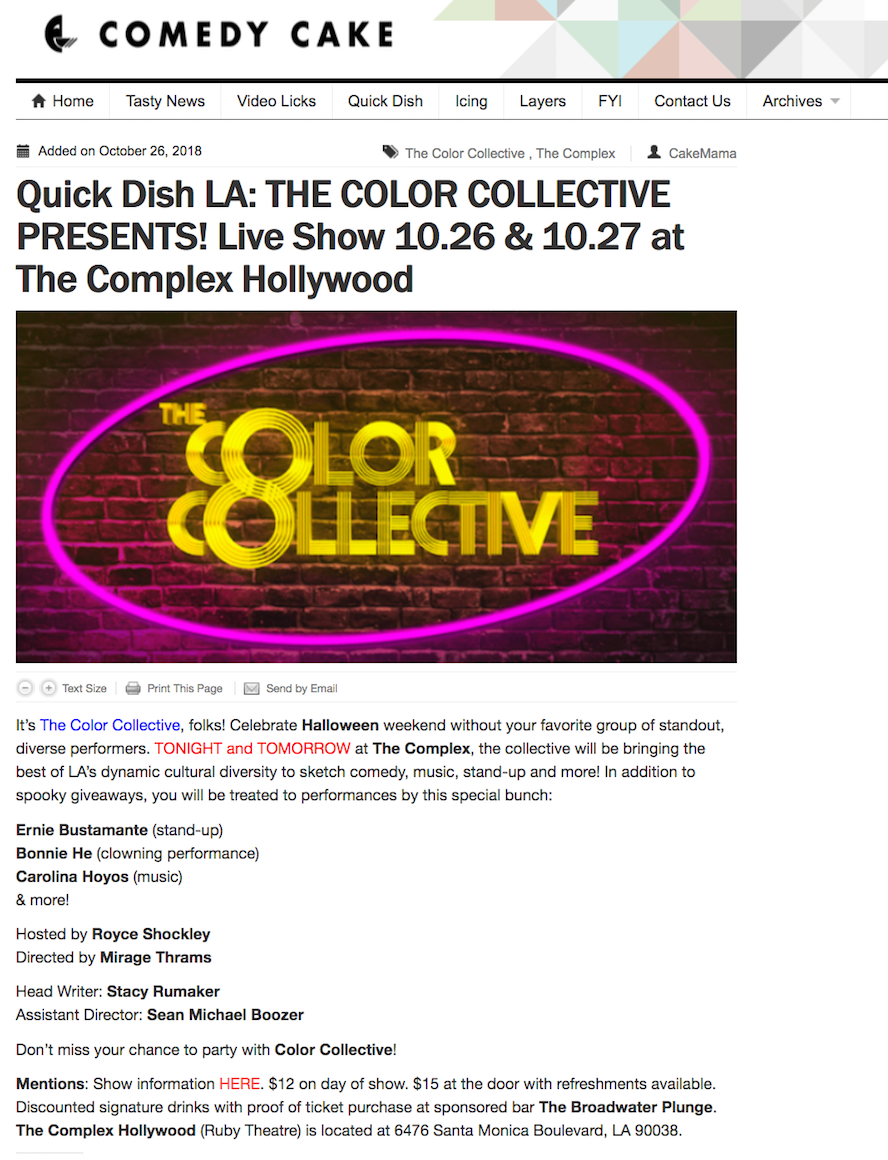 Singer Songwriter Actress A Girl I Know | Carolina Hoyos in The Color Collective Live! on Comedy Cake