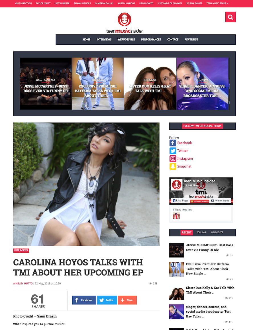 Singer Songwriter Actress A Girl I Know | Carolina Hoyos talks about her upcoming releases with Teen Music Insider