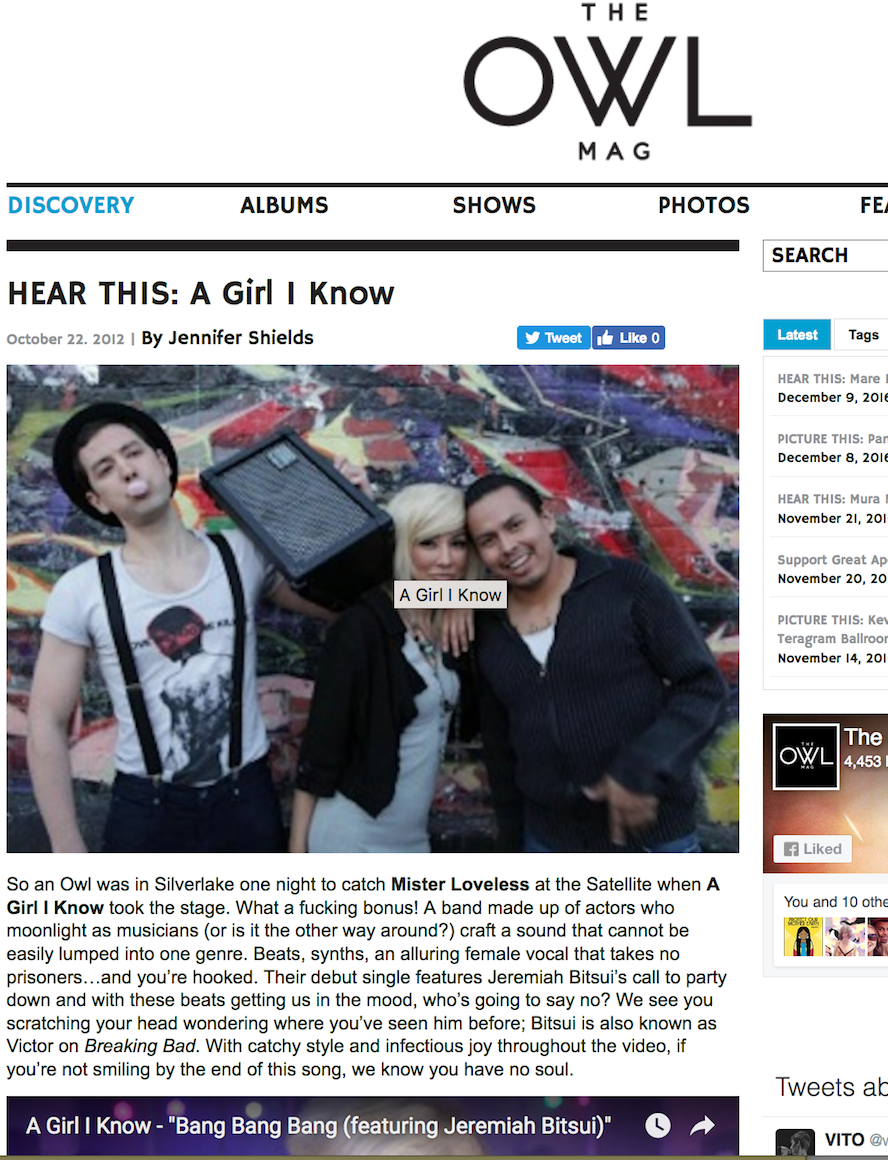 Singer Songwriter Actress A Girl I Know | Carolina Hoyos in The Owl Mag